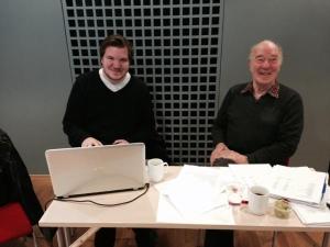 Æresmedlem Sverre Worum og SLs ungdomsrepresentant i LOs ungdomsutvalg, Eivind Knudsen, den eldste og den yngste på landsstyremøtet, har funnet tonen.